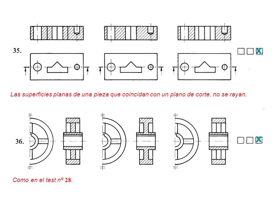 X Las superficies planas de una pieza que coincidan con un plano de corte, no se rayan.