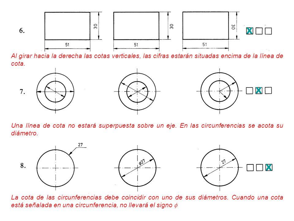 X Al girar hacia la derecha las cotas verticales, las cifras estarán situadas encima de la línea de cota.