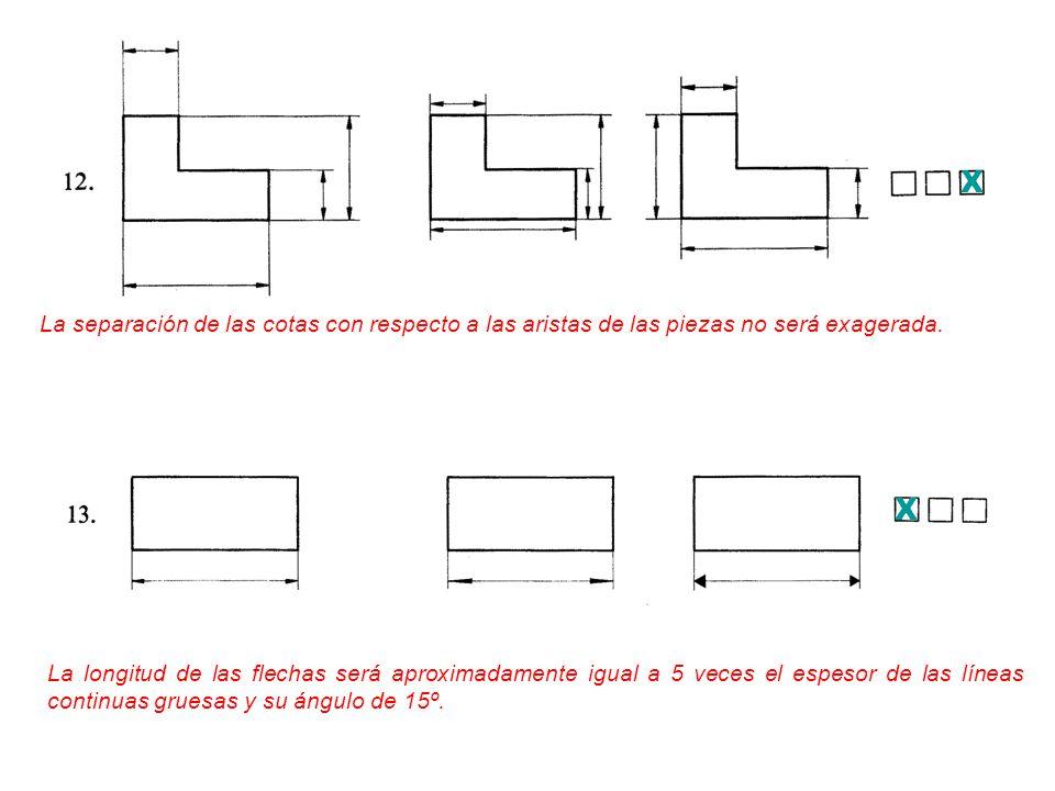 X La separación de las cotas con respecto a las aristas de las piezas no será exagerada. X.