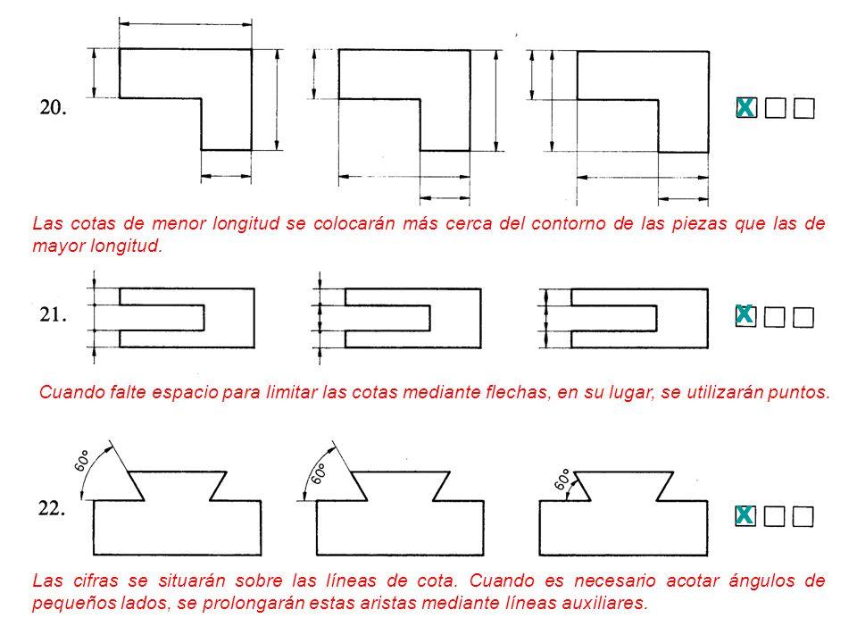 X Las cotas de menor longitud se colocarán más cerca del contorno de las piezas que las de mayor longitud.