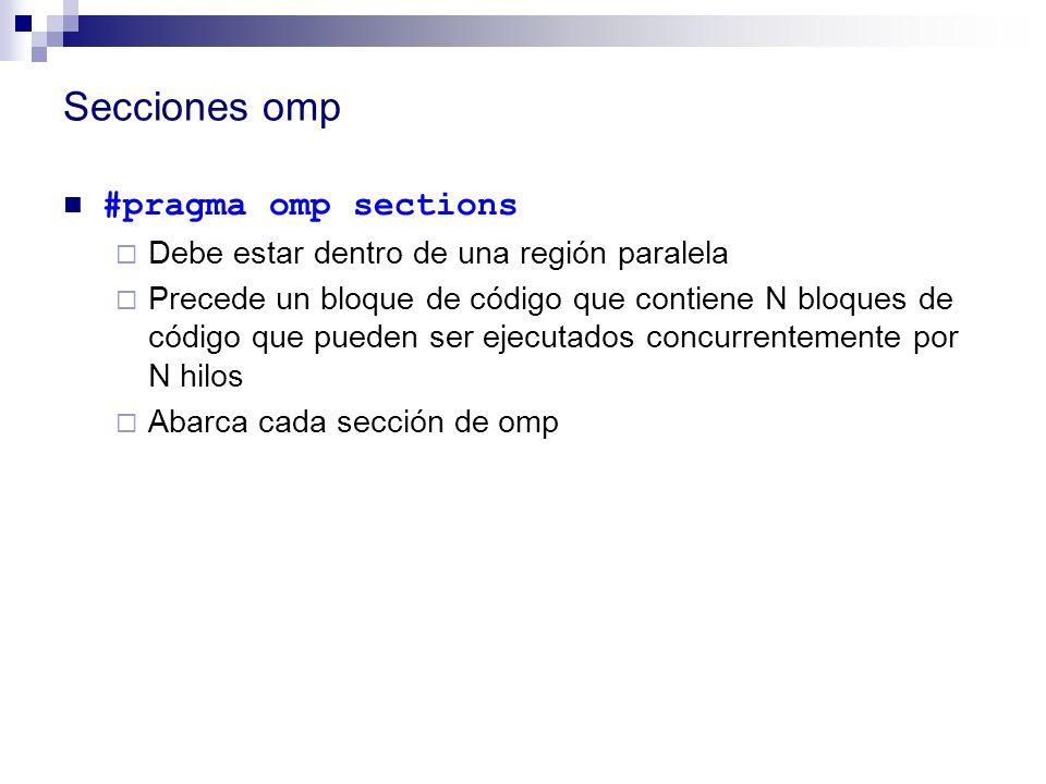 Secciones omp #pragma omp sections