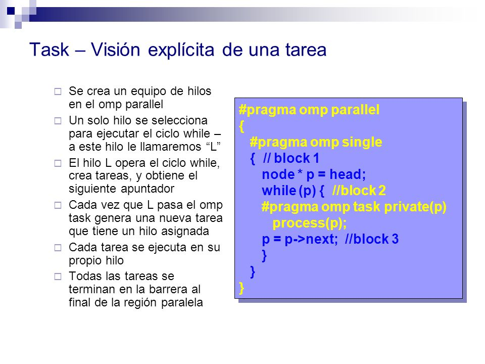 Task – Visión explícita de una tarea