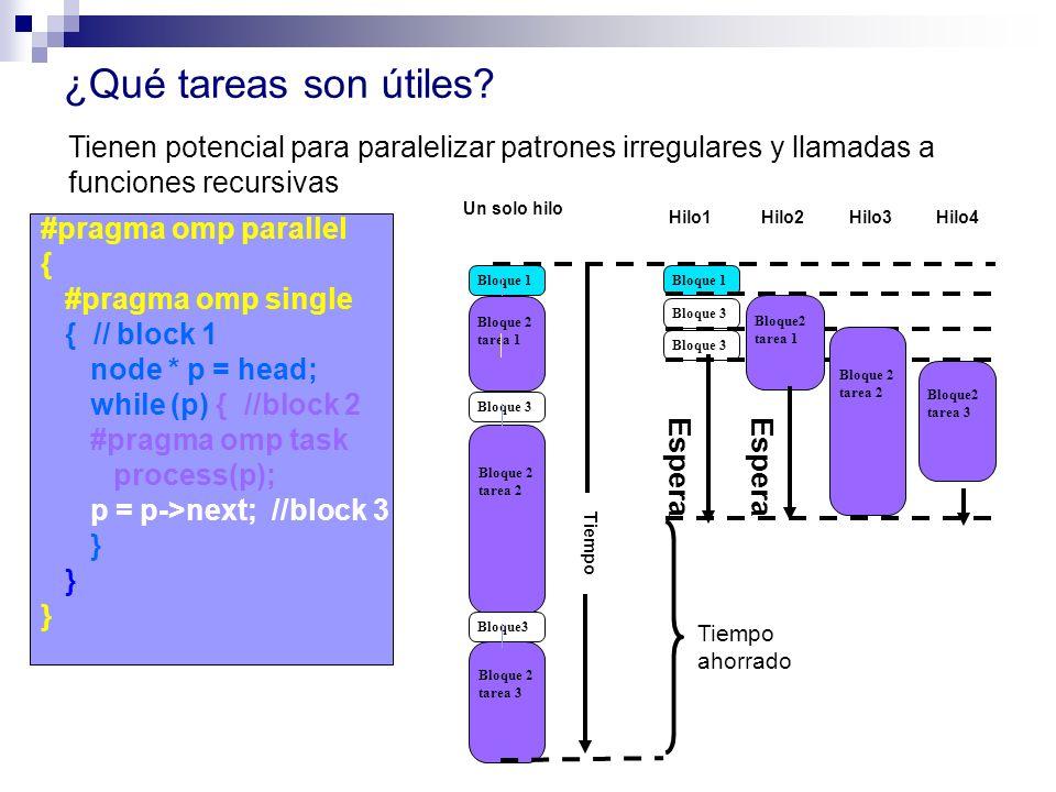 ¿Qué tareas son útiles Tienen potencial para paralelizar patrones irregulares y llamadas a funciones recursivas.