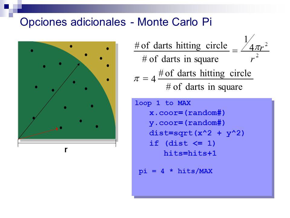 Opciones adicionales - Monte Carlo Pi
