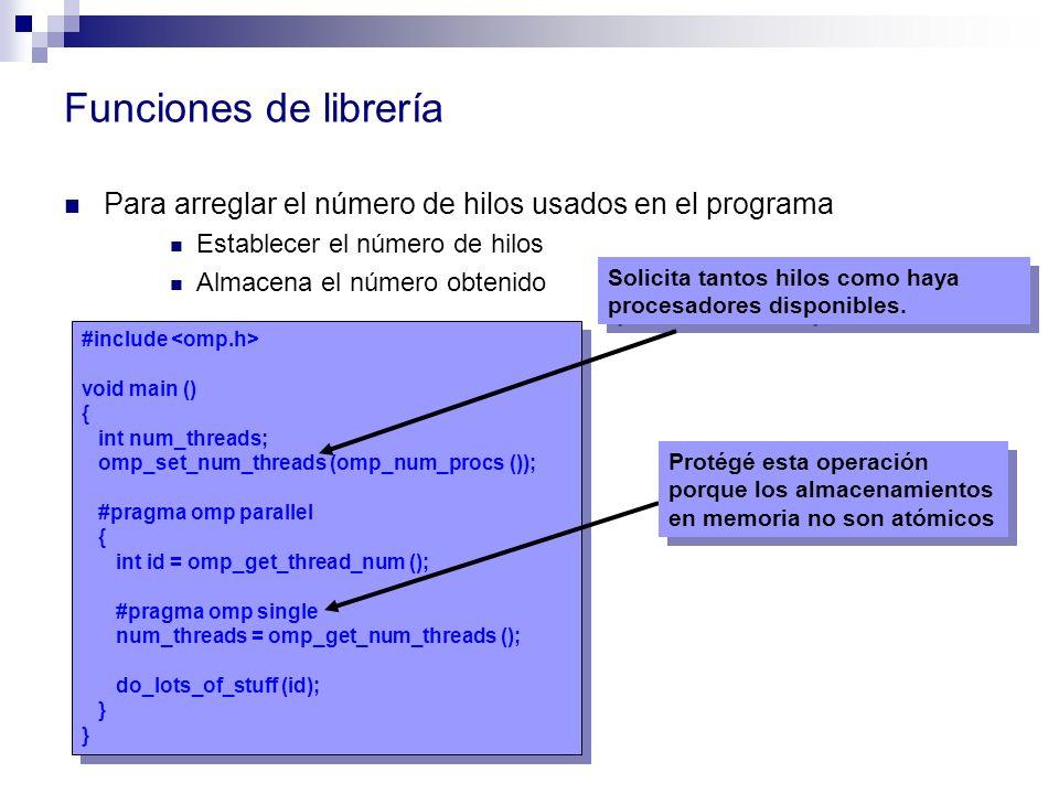 Funciones de librería Para arreglar el número de hilos usados en el programa. Establecer el número de hilos.