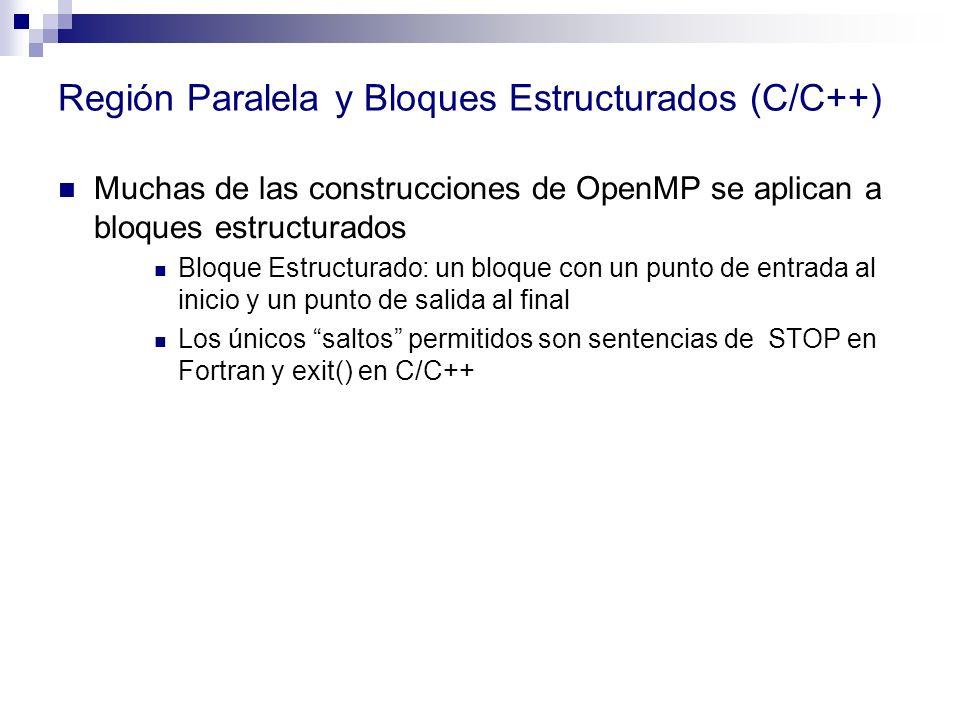 Región Paralela y Bloques Estructurados (C/C++)