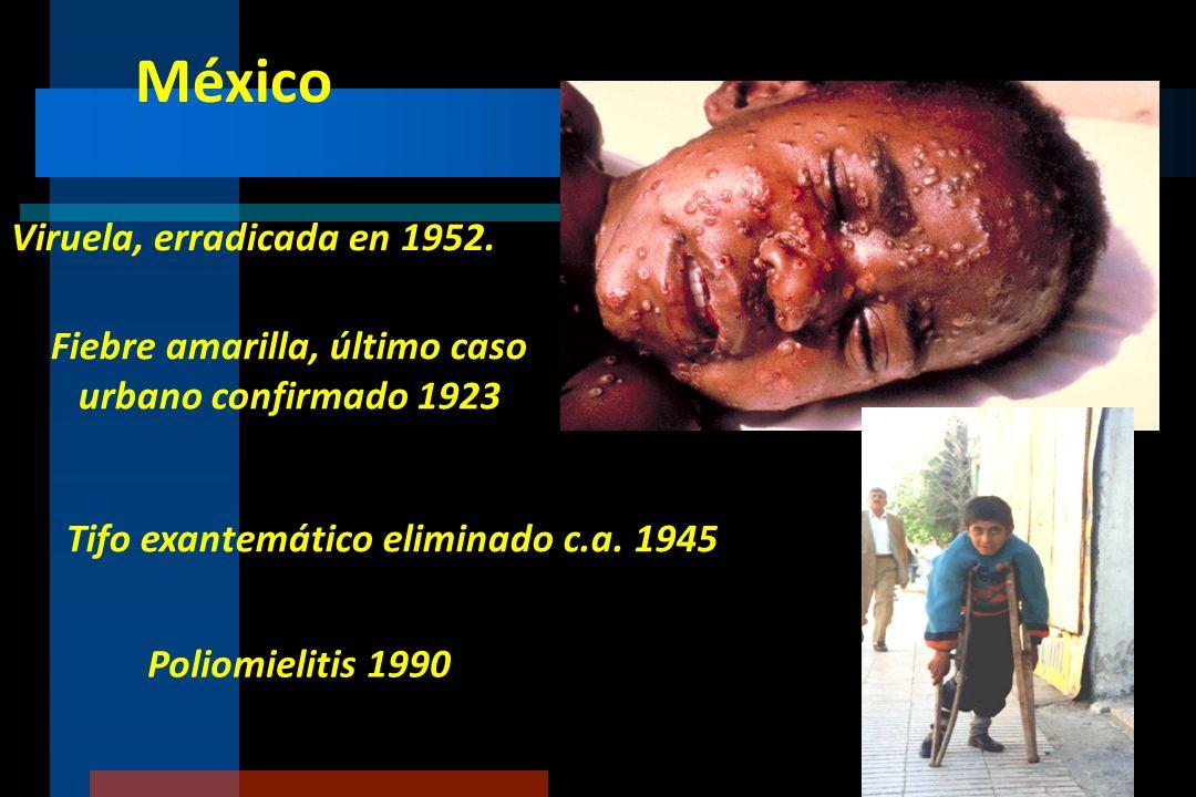 México Viruela, erradicada en 1952.