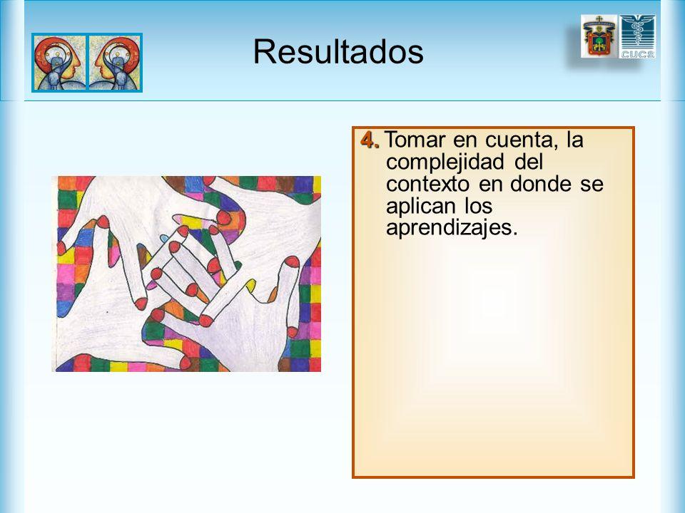 Resultados 4. Tomar en cuenta, la complejidad del contexto en donde se aplican los aprendizajes.