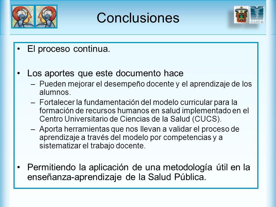 Conclusiones El proceso continua. Los aportes que este documento hace