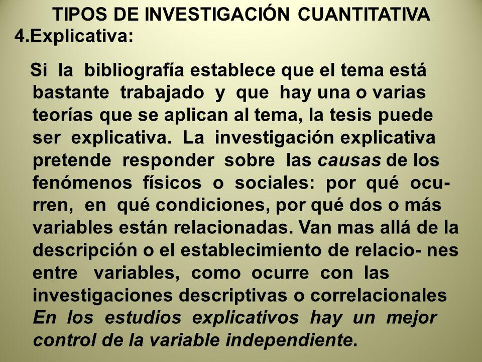 TIPOS DE INVESTIGACIÓN CUANTITATIVA