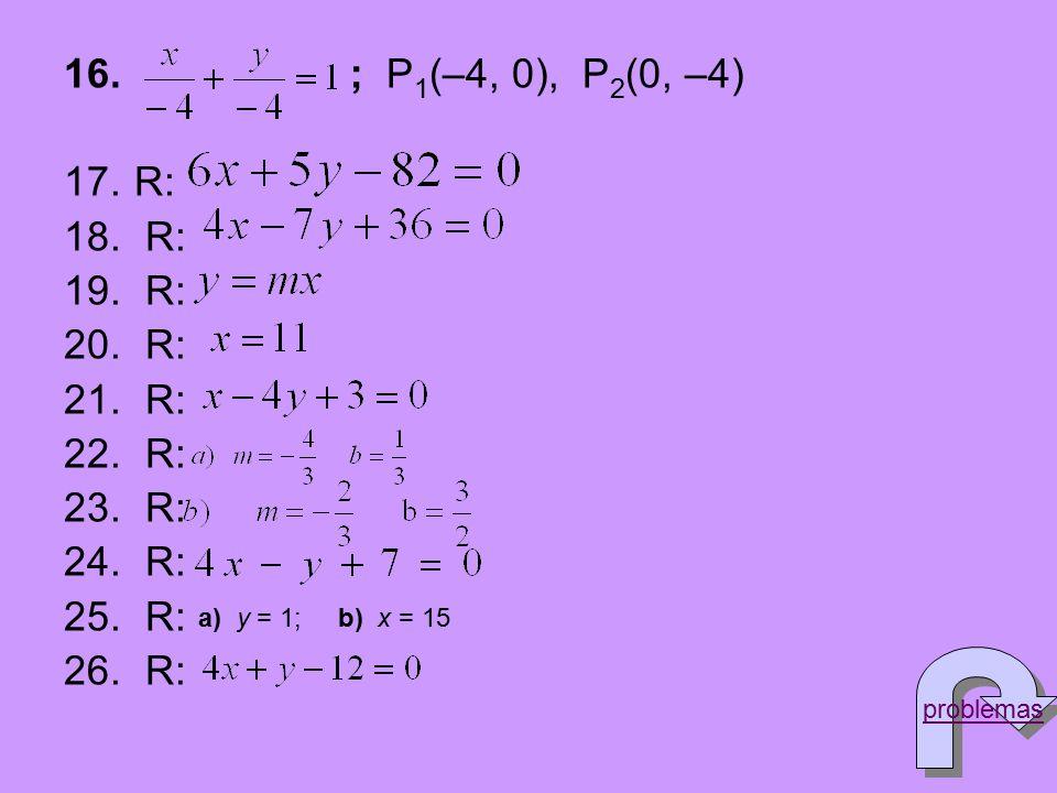 ; P1(–4, 0), P2(0, –4) R: a) y = 1; b) x = 15 problemas