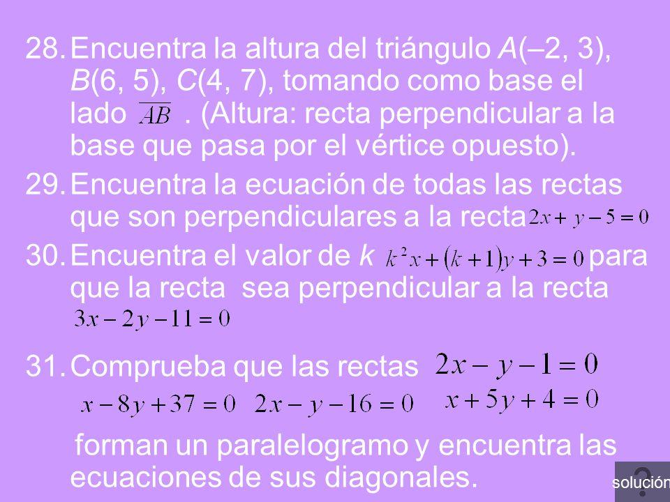 Encuentra el valor de k para que la recta sea perpendicular a la recta