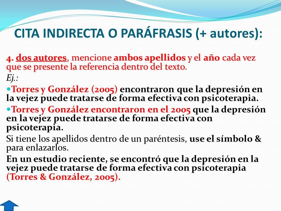CITA INDIRECTA O PARÁFRASIS (+ autores):