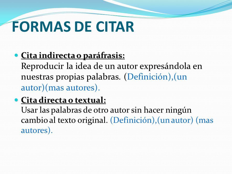 FORMAS DE CITAR