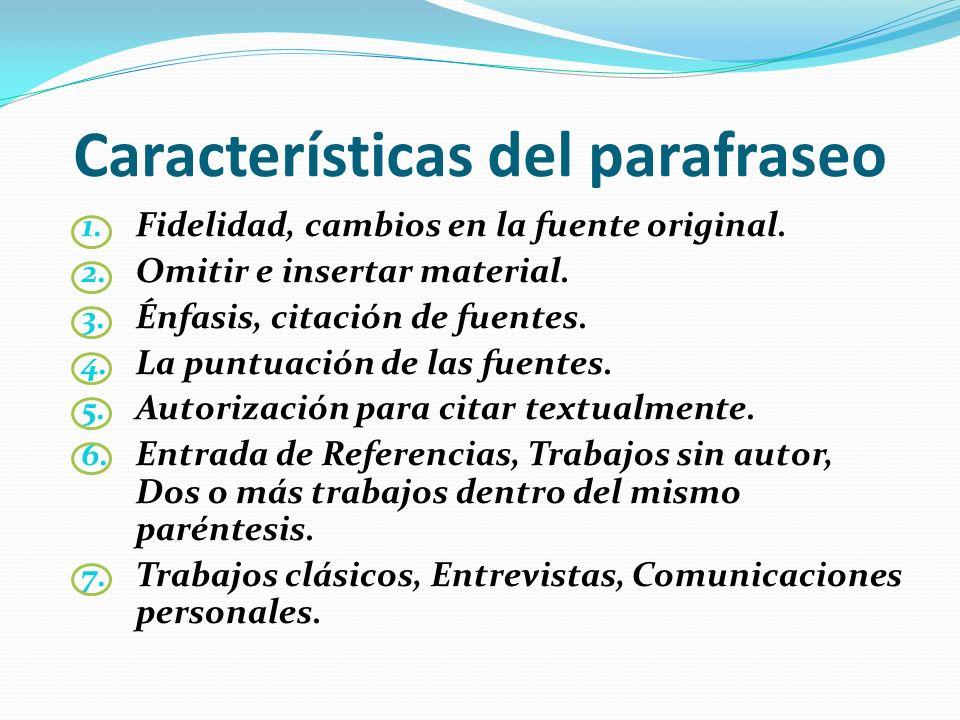 Características del parafraseo
