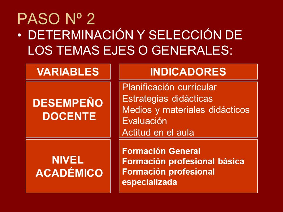PASO Nº 2 DETERMINACIÓN Y SELECCIÓN DE LOS TEMAS EJES O GENERALES:
