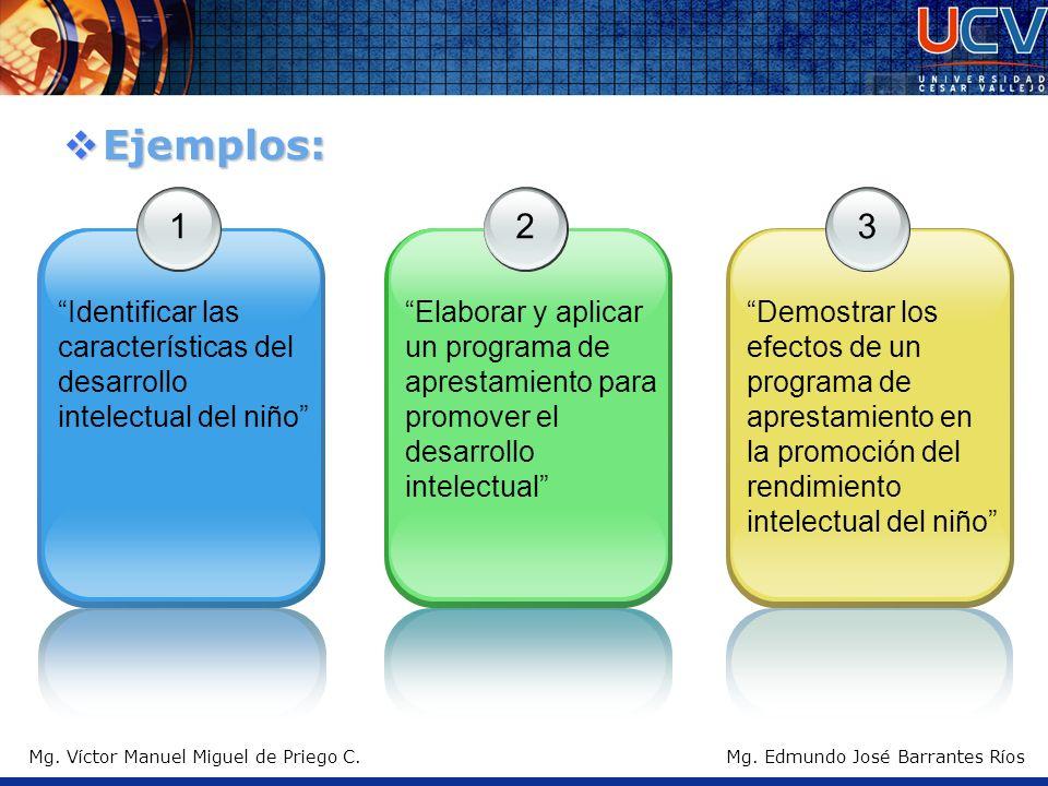 Ejemplos: 1. Identificar las características del desarrollo intelectual del niño 2.