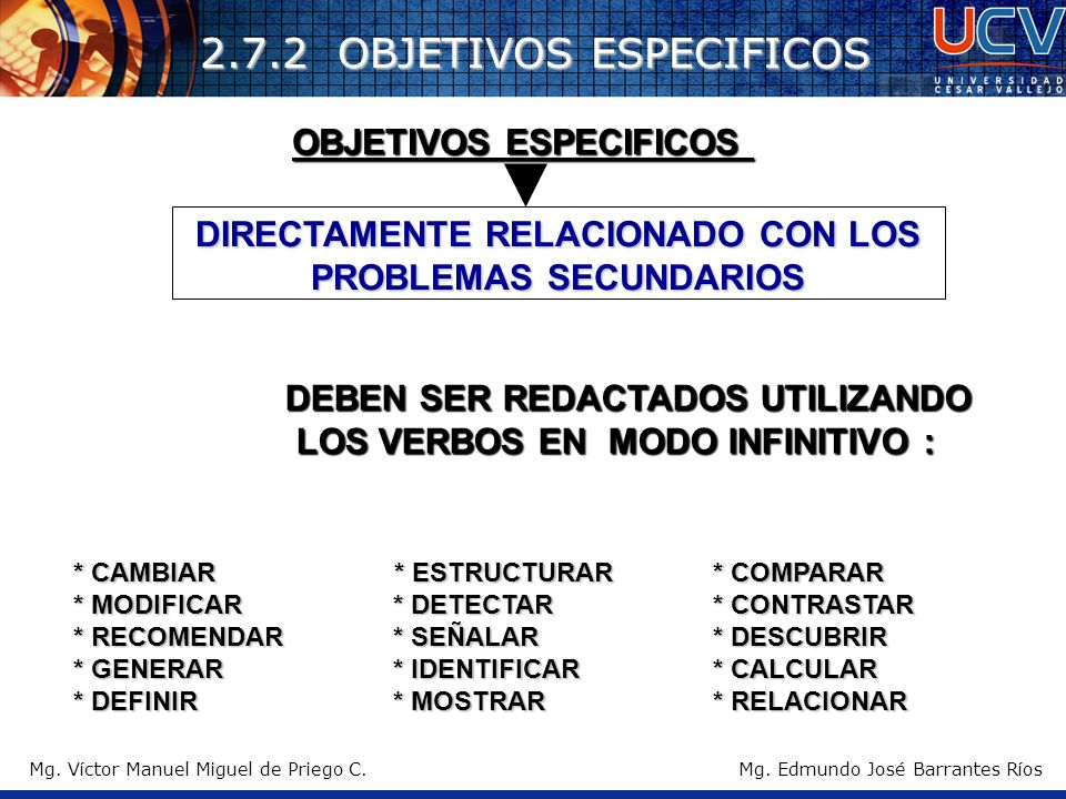 2.7.2 OBJETIVOS ESPECIFICOS