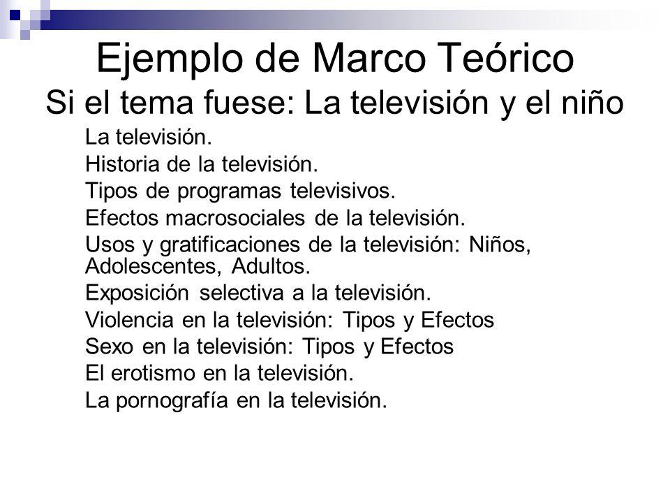 Ejemplo de Marco Teórico Si el tema fuese: La televisión y el niño
