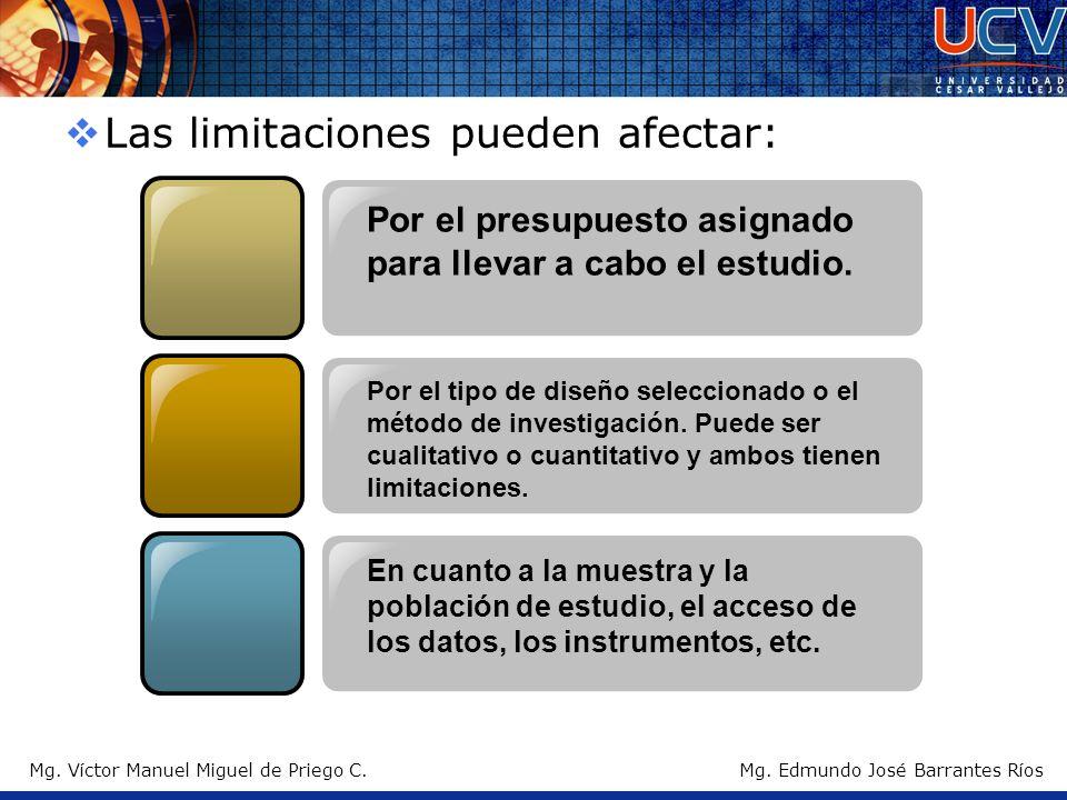 Las limitaciones pueden afectar: