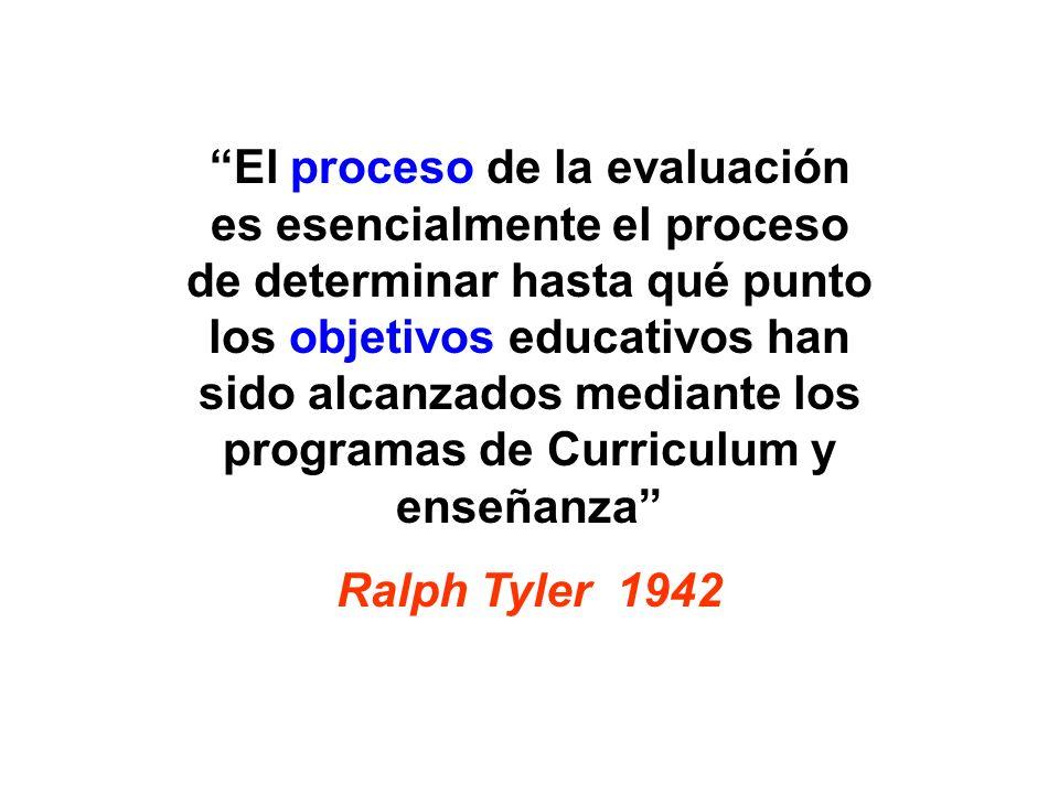 El proceso de la evaluación es esencialmente el proceso de determinar hasta qué punto los objetivos educativos han sido alcanzados mediante los programas de Curriculum y enseñanza