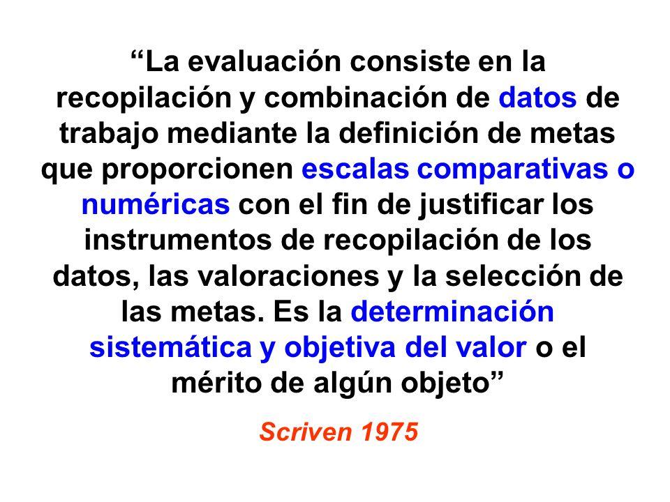 La evaluación consiste en la recopilación y combinación de datos de trabajo mediante la definición de metas que proporcionen escalas comparativas o numéricas con el fin de justificar los instrumentos de recopilación de los datos, las valoraciones y la selección de las metas. Es la determinación sistemática y objetiva del valor o el mérito de algún objeto