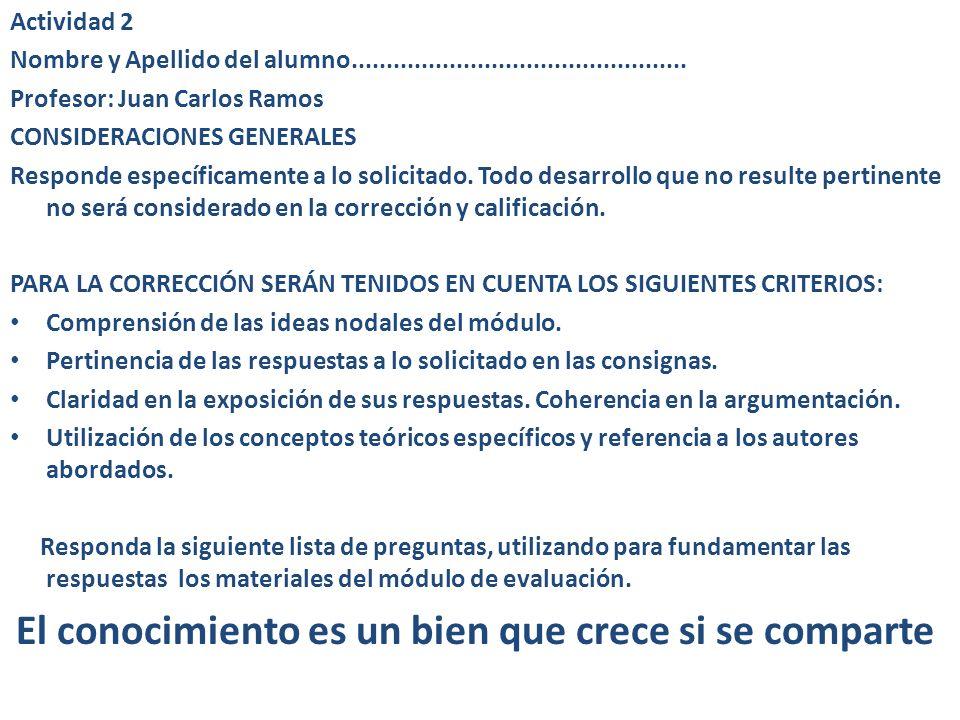 Actividad 2 Nombre y Apellido del alumno................................................ Profesor: Juan Carlos Ramos.