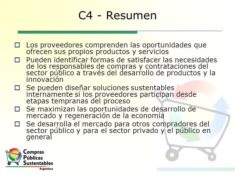 C4 - ResumenLos proveedores comprenden las oportunidades que ofrecen sus propios productos y servicios.