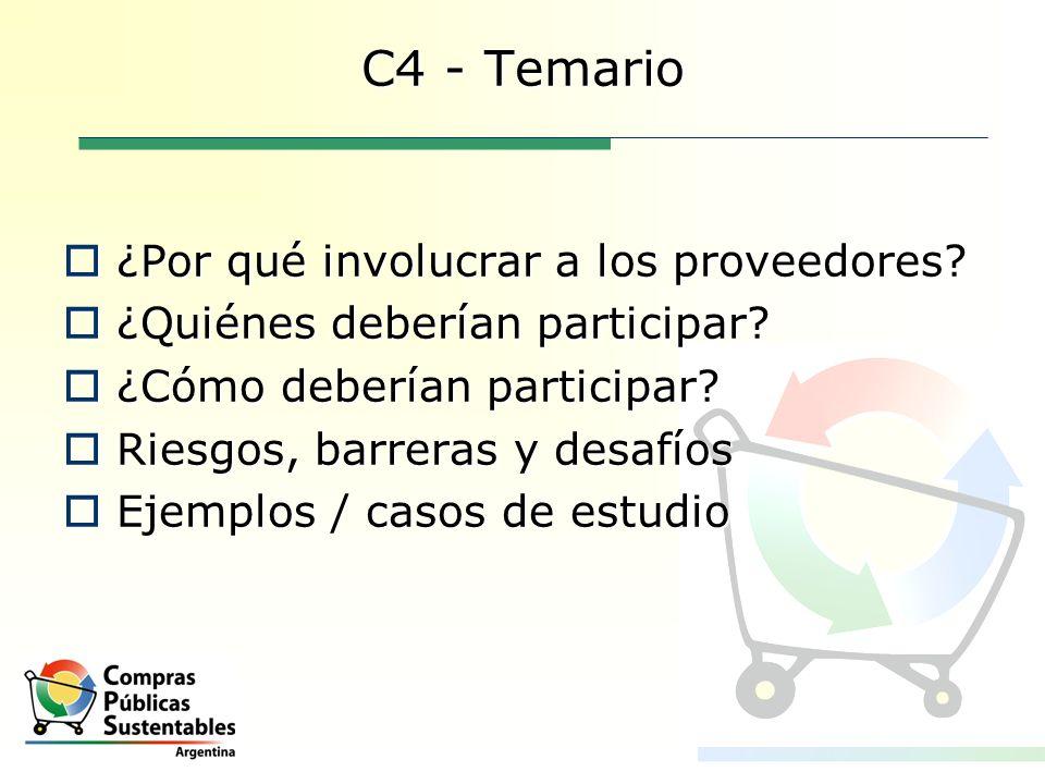C4 - Temario ¿Por qué involucrar a los proveedores