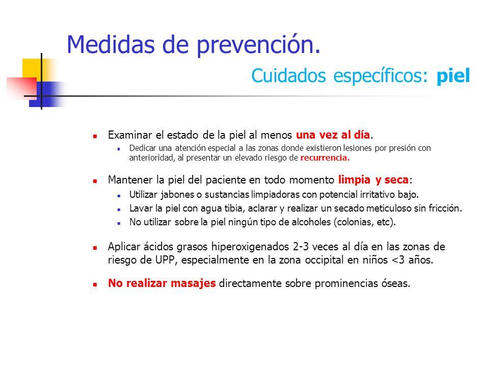 Medidas de prevención. Cuidados específicos: piel