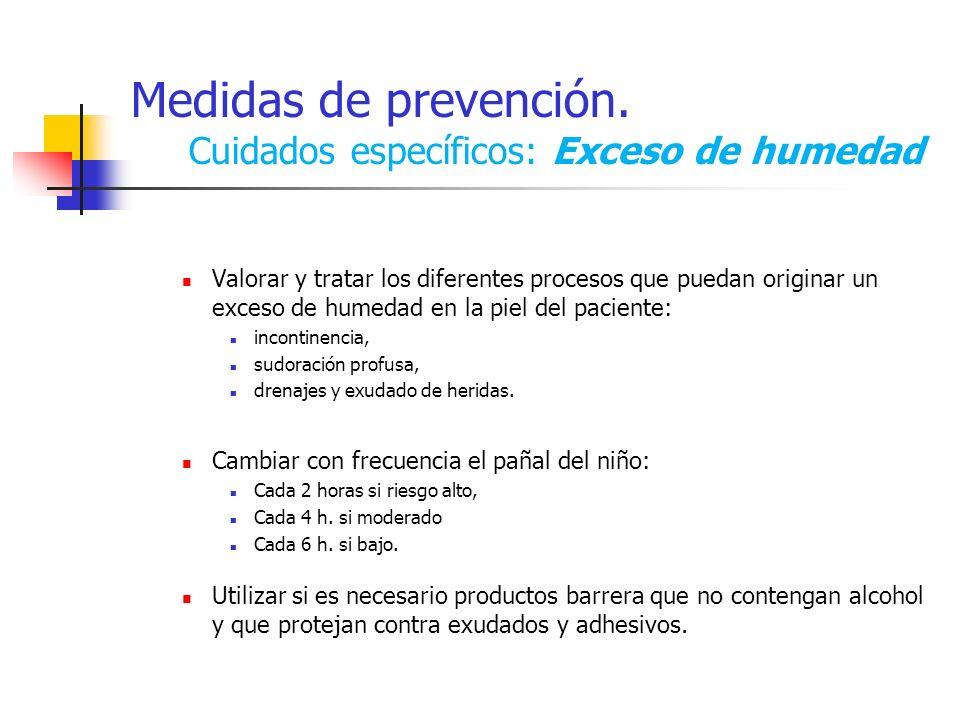 Medidas de prevención. Cuidados específicos: Exceso de humedad