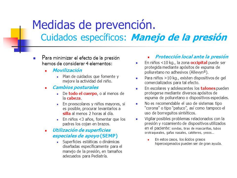 Medidas de prevención. Cuidados específicos: Manejo de la presión