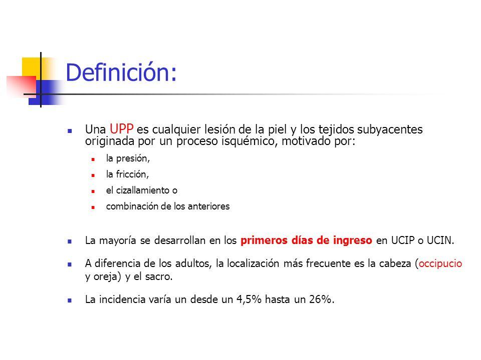 Definición: Una UPP es cualquier lesión de la piel y los tejidos subyacentes originada por un proceso isquémico, motivado por: