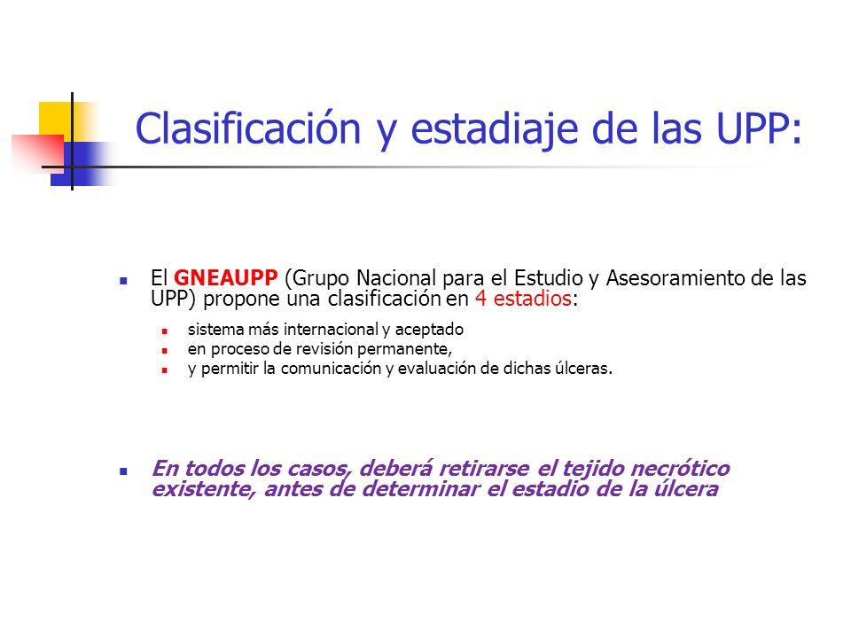 Clasificación y estadiaje de las UPP: