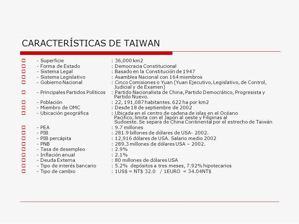 CARACTERÍSTICAS DE TAIWAN