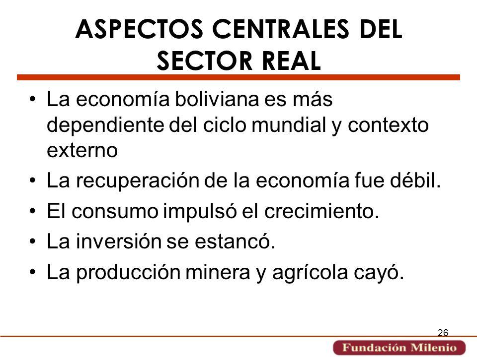 ASPECTOS CENTRALES DEL SECTOR REAL