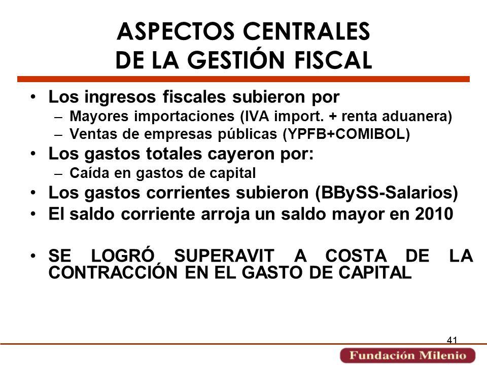 ASPECTOS CENTRALES DE LA GESTIÓN FISCAL
