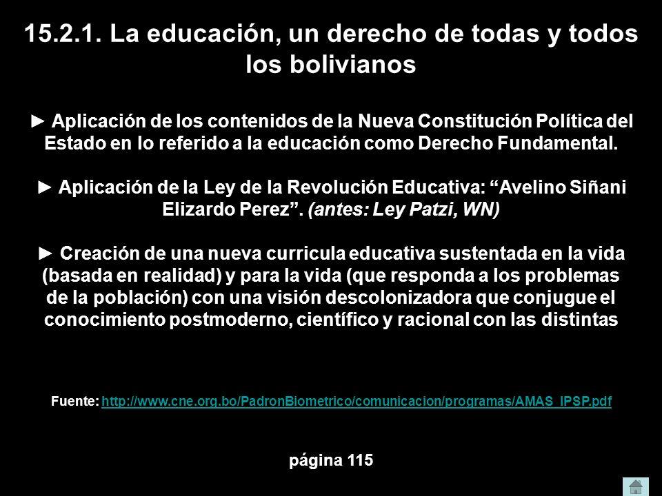 15.2.1. La educación, un derecho de todas y todos los bolivianos