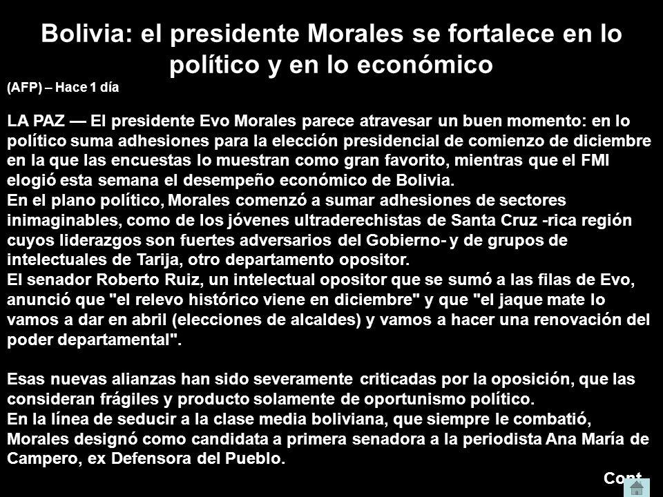 Bolivia: el presidente Morales se fortalece en lo político y en lo económico