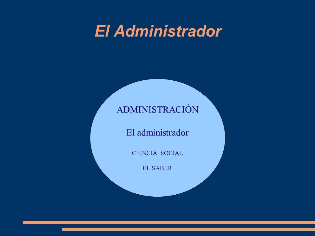 El Administrador ADMINISTRACIÓN El administrador CIENCIA SOCIAL