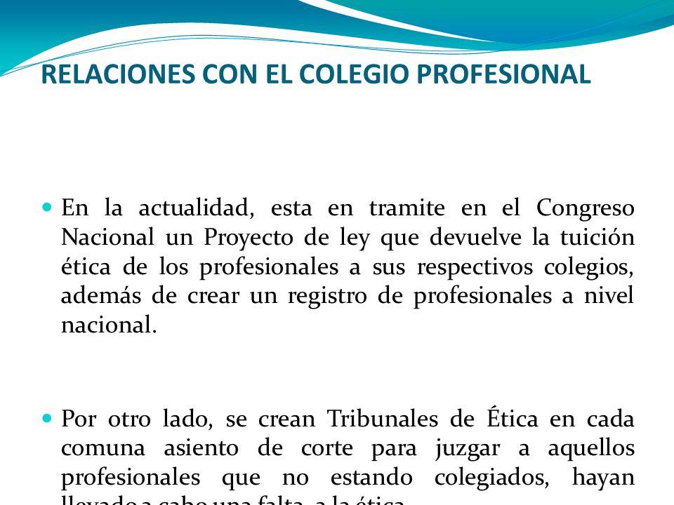 RELACIONES CON EL COLEGIO PROFESIONAL