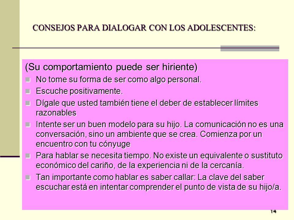 CONSEJOS PARA DIALOGAR CON LOS ADOLESCENTES:
