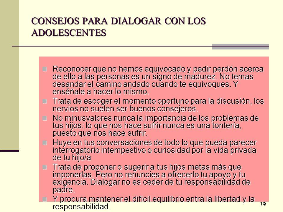 CONSEJOS PARA DIALOGAR CON LOS ADOLESCENTES