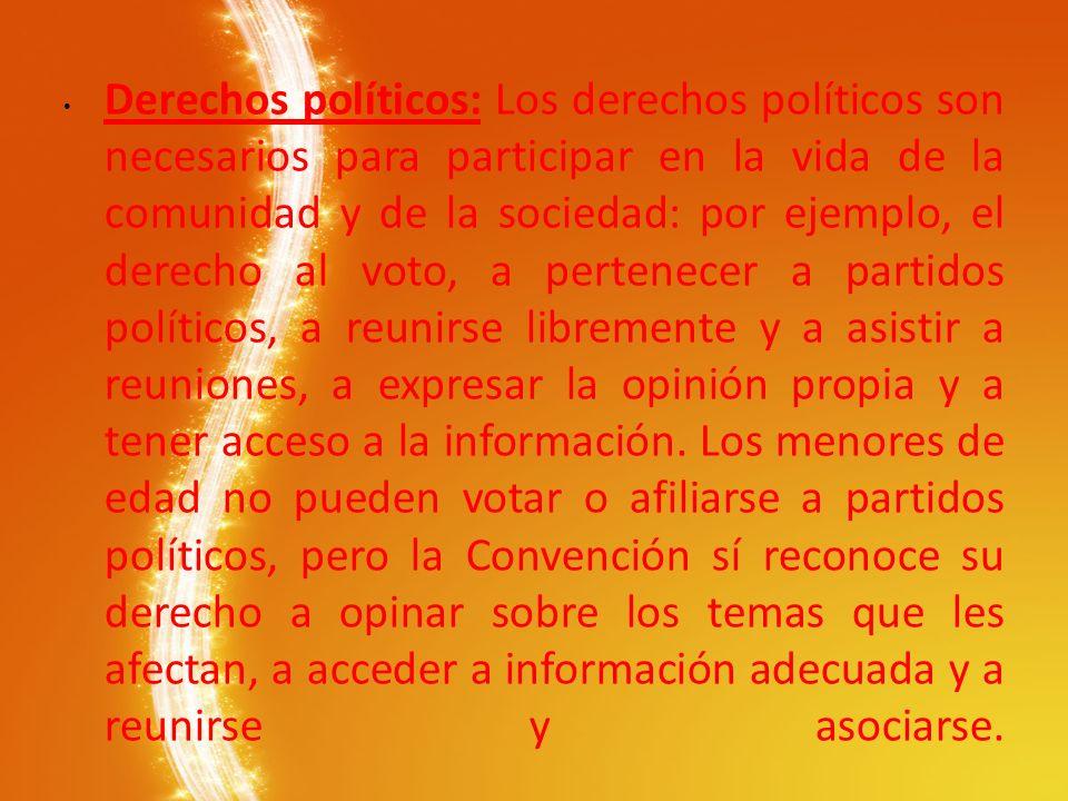 Derechos políticos: Los derechos políticos son necesarios para participar en la vida de la comunidad y de la sociedad: por ejemplo, el derecho al voto, a pertenecer a partidos políticos, a reunirse libremente y a asistir a reuniones, a expresar la opinión propia y a tener acceso a la información.