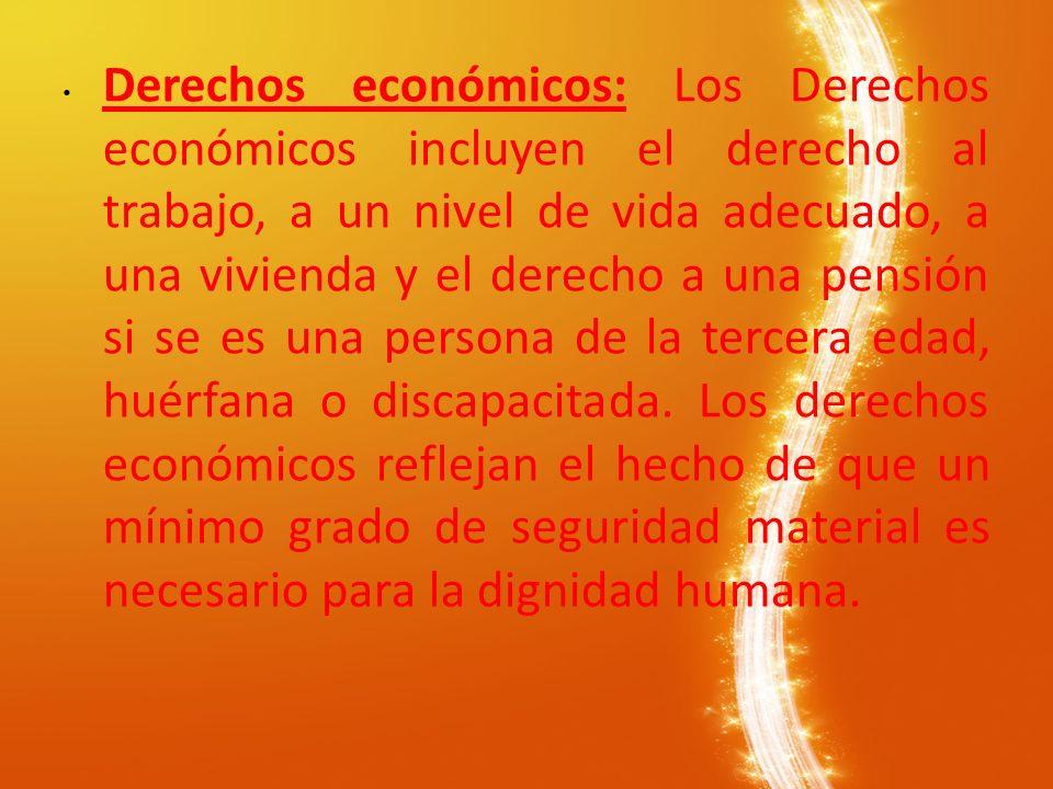Derechos económicos: Los Derechos económicos incluyen el derecho al trabajo, a un nivel de vida adecuado, a una vivienda y el derecho a una pensión si se es una persona de la tercera edad, huérfana o discapacitada.