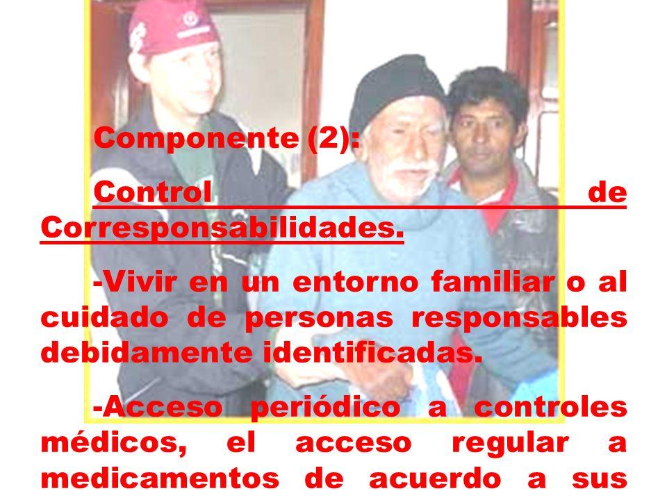 Componente (2):Control de Corresponsabilidades. -Vivir en un entorno familiar o al cuidado de personas responsables debidamente identificadas.
