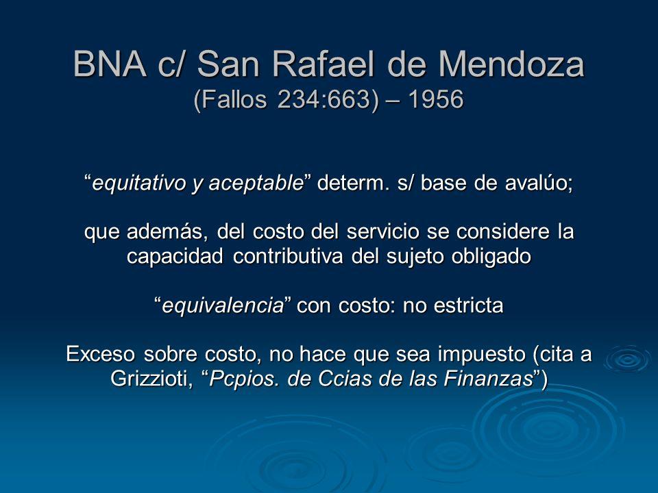 BNA c/ San Rafael de Mendoza (Fallos 234:663) – 1956 equitativo y aceptable determ.