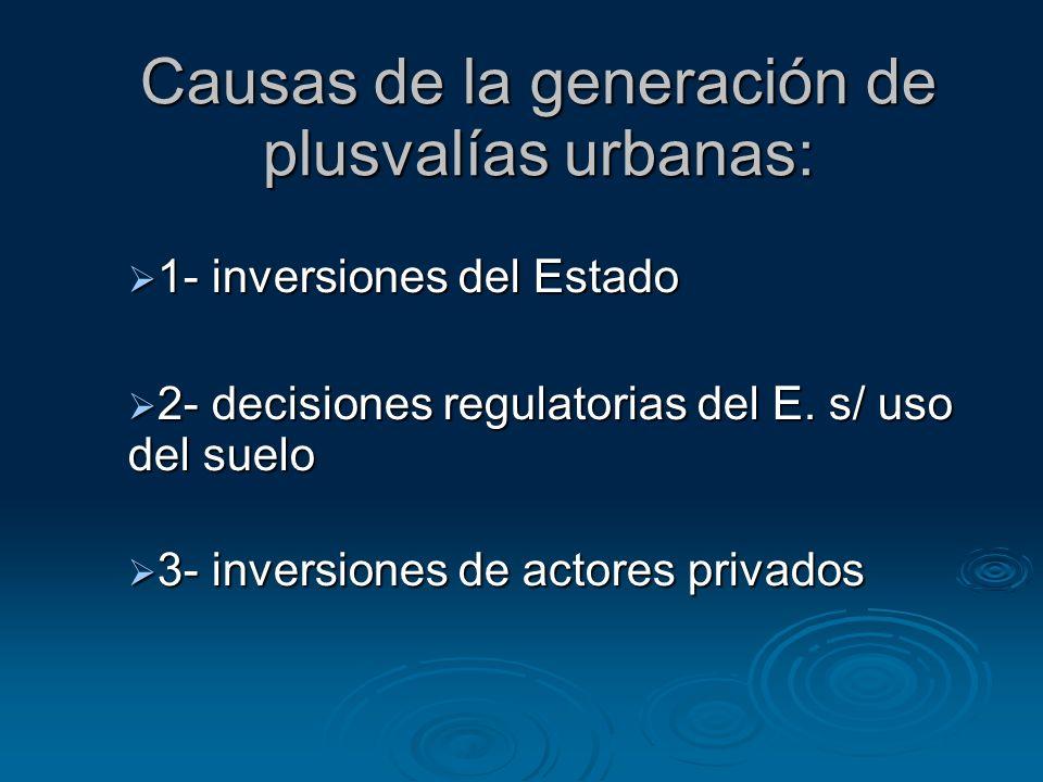 Causas de la generación de plusvalías urbanas: