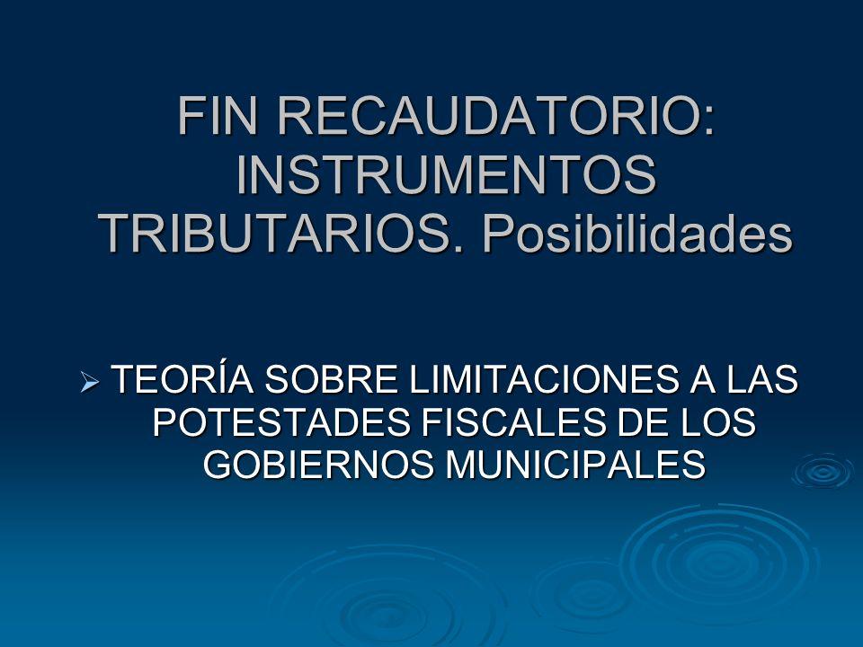 FIN RECAUDATORIO: INSTRUMENTOS TRIBUTARIOS. Posibilidades