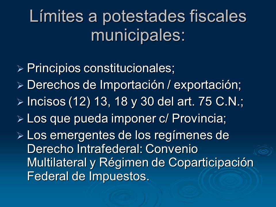 Límites a potestades fiscales municipales: